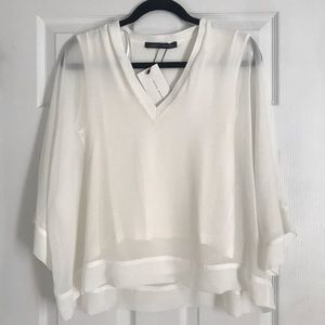 NWT Zara White Bell Sleeve Blouse
